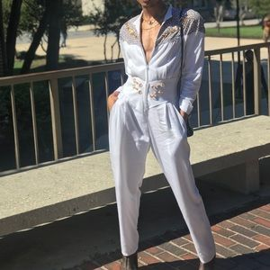 Pants - Large White and Cheetah Print Jumpsuit